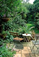 Garden view with patio, table and chairs