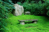 Pine Lodge Gardens - St Austell - Cornwall - Stone seat with Soleirolia soleirolii as ground cover in the Japanese garden