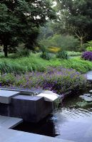 Water feature at the Schupf Garden, New York State, USA with design by James Van Sweden