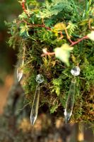 Decorative hanging basket with moss and chandalier droplets