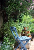 Blue chair in garden