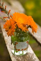Marigolds in glass marmalade jar