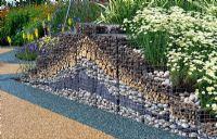 Pyramid gabion retaining wall - RHS Tatton Park Flower Show