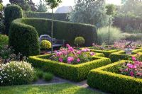 Formal rose garden with clipped box surrounding flowerbeds of Rosa 'Melrose' and Yew hedge