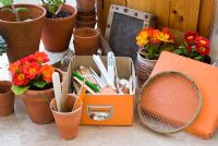 Tools on potting bench