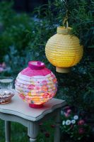 Garden lighting - Decorative paper lanterns at dusk
