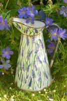 Enamel jug painted with lavender flowers