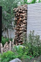 Stack of Betula stumps in wall space. The Naturally Fashionable Garden, Silver Medal winner, RHS Chelsea Flower Show 2010