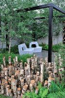 Stumpery in Urban garden. . The Naturally Fashionable Garden, Silver Medal winner, RHS Chelsea Flower Show 2010