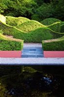 The Hedge Garden and Reflecting Pool. Veddw House Garden, Monmouthsire, Wales.
