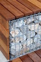Detail of gabion and wooden bench