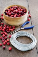 Making a Cranberry and Bay leaf decorative ring - All items needed, cranberries, wire and pliers