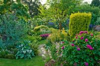 Traditional English cottage garden with brick path between shady borders of Prunus serrula - Cherry tree, Geranium, Astilbe, Euphorbia characias, Hosta, Rosa and Taxus baccata 'Aurea'. Carol and Malcolm Skinner, Eastgrove Cottage, Worcs, UK