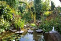 Pod in autumn with stepping stones and fountain spout in rock