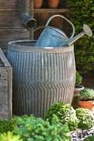 Galvanised watering can and water butt