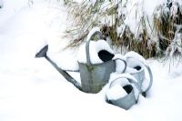 Watering cans in the snow