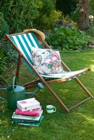 Deck chair with garden books
