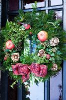 Christmas wreath by Sue Wright. Veddw House Garden. December.