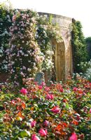 Stone gazebo in rose garden at Hever Castle, Kent UK