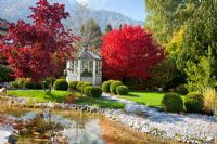 A white painted wooden pavilion in a garden with maples in autumn colours, box spheres, a natural swimming pool and granite paved rest area. Planting includes Acer palmatum, Buxus, Miscanthus sinensis and Pinus