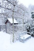 Formal town garden with first snow. Summerhouse, pleached field maples and bench - Cambridge