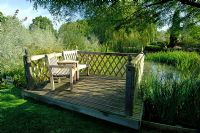 Viewing platform at lakeside - Merriments Gardens, Handcross, East Sussex