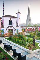 View of The Spanish Garden at The Roof Gardens, Kensington
