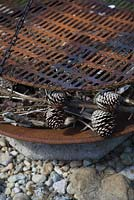 Detail of Rusty firepit sitting on a large stone boulder, with fir cones and kindling