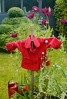 Garden scarecrow surrounded by purple Papaver somniferum - Opium Poppies and Onions
