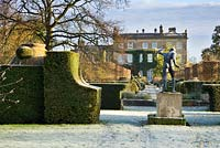Winter scene with frost looking towards the House, Borghese Gladiatorand Thyme Walk, Highgrove Garden, December 2007
