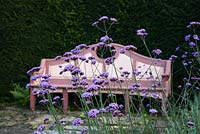 Bench and Verbena bonariensis by the Lilly Pool in the Mediterranean Garden, Highgrove Garden, October 2007.