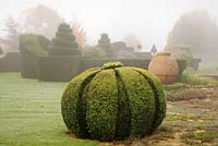 Thyme Walk with Golden Yew Topiary, Highgrove Garden, October 2007.
