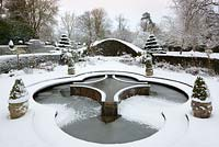 Mediterranean Garden and Lilly Pool in snow, Highgrove Garden, January 2010.