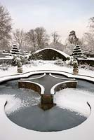 Mediterranean garden and lilly pool in snow, Highrove Garden, January 2010.