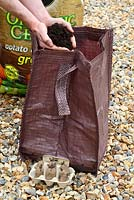 Step by step of planting seed potatoes 'Charlotte' in a growing bag - Adding compost to potato bag 6 inches deep