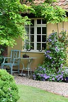 Gravel path leading to cottage entrance, seating area with bonsai in pot, Clematis 'Arabella' and Viola in container - Sallowfield Cottage B&B, Norfolk