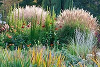 Late summer border with ornamental grasses