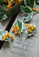 Fasten small bunches of berries on to the holly leaves by wrapping wire round the stems