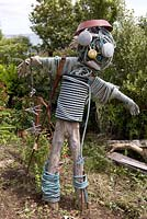 Scarecrow made from recycled coastal objects - Coastal allotment, Mousehole, Cornwall