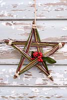 Homemade Christmas star made from colourful winter stems and Cotoneaster berries