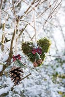 Snowy moss heart and cone with ribbon displayed hanging on branch