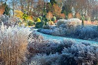 The Summer and Winter Garden in November, Winter. Bressingham Gardens, Norfolk, UK. Designed by Adrian Bloom.