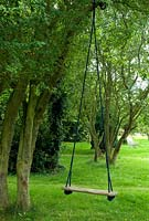 Child's swing hanging from old tree in garden