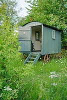 Shepherds hut in wild garden with oxeye daisies - The Mill House, Little Sampford, Essex