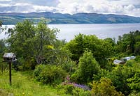 View over greenhouse to Loch Ness