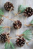 Step by step of making a simple, rustic Christmas garland with fir cones and pine needles - Detail of the finished garland