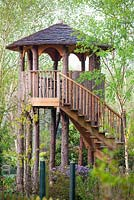 Tree House made from Larch at Foggy Bottom, The Bressingham Gardens, Norfolk, UK.