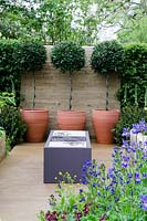 Terracotta pots with clipped Bay trees, bespoke steel and stone cooking box, plants include Iris sibirica and Anchusa 'Loddon Royalist'