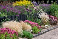 View of border planted with sedums and grasses with purple asters behind black picket fence. The Library Display Garden and Aster novae-angliae National Collection at Avondale Nursery, Baginton, near Coventry. September, Autumn.