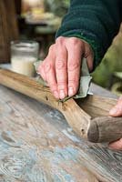 Protecting wooden parts of fork by applying Danish Oil